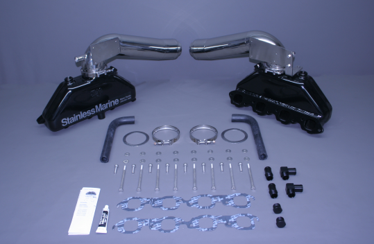 Marine Exhaust Manifolds : Bb exhaust manifolds w long s risers brackets btf kit