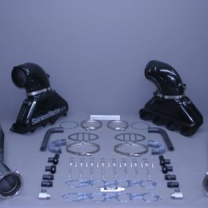 "Set Of Bb Gen Iii Manfiold With Aluminum Riser And 4 1/2"" Stainless Tailpipes Built To Fit"