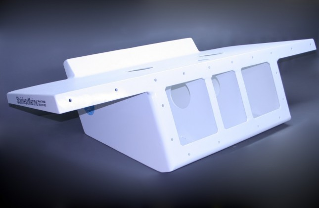 "32"" Twin Engine Bracket with 82"" Wide Platform White -15 Degree"