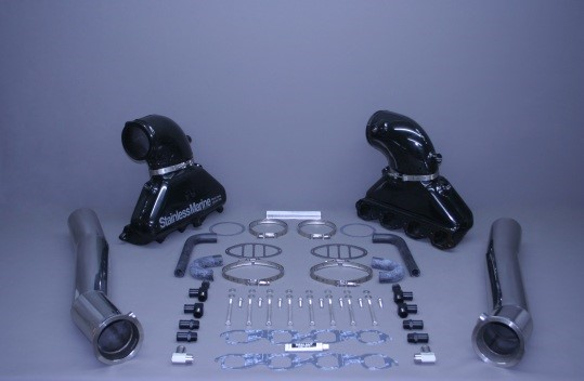 """Set Of Bb Gen Iii Manfiold With Aluminum Riser And 4 1/2"""" Stainless Tailpipes Built To Fit"""