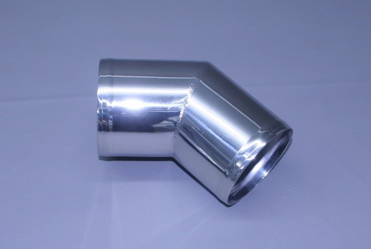 "3 1/2"" Polished Stainless Short Radius 45"